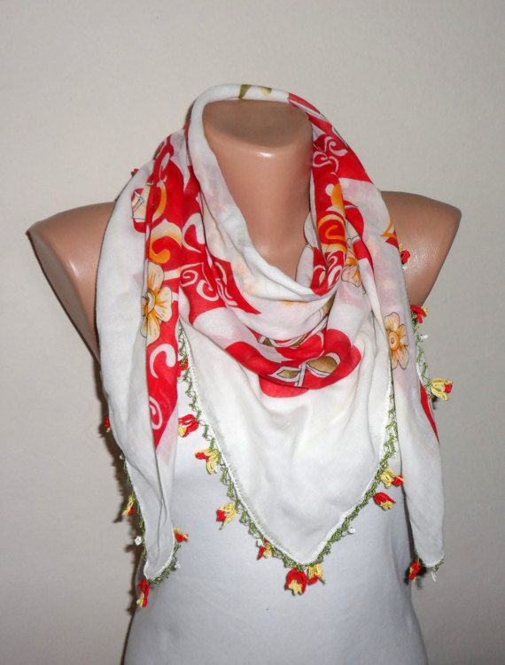 white scarf red yellow scarf floral print scarf trendy scarf