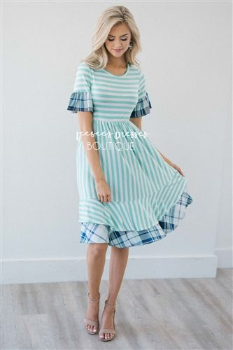 66ccf85e8ad Mint Stripe Navy Plaid Ruffle Modest Dress Bridesmaids Dress