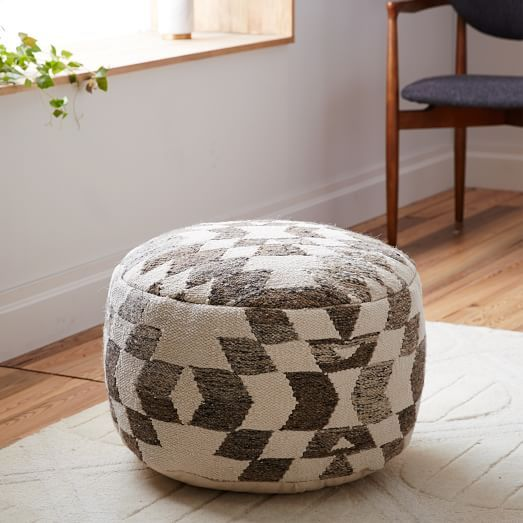 CARPET DIEM: palmette wool pouf from West Elm. As seen on: http://www.aladyinalabcoat.com/#!CARPET-DIEM/cmbz/568e92410cf29139531eb576