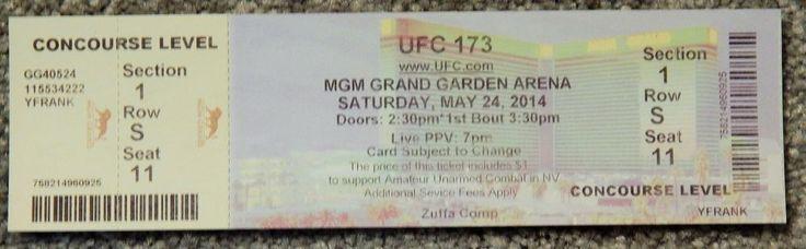 UFC ULTIMATE FIGHTING UFC 173 ORIGINAL USED TICKET MGM LAS VEGAS, MAY 24 2014 #UFC173