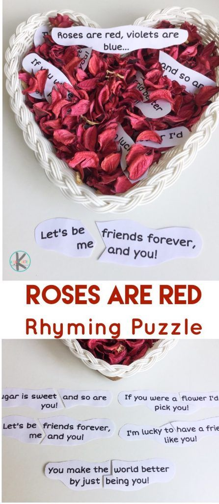 Valentines Day Rhyming Puzzles - this is such a fun, hands on activity to help preschool, kindergarten, and first grade kids to practice rhyming with a fun valentines day printable
