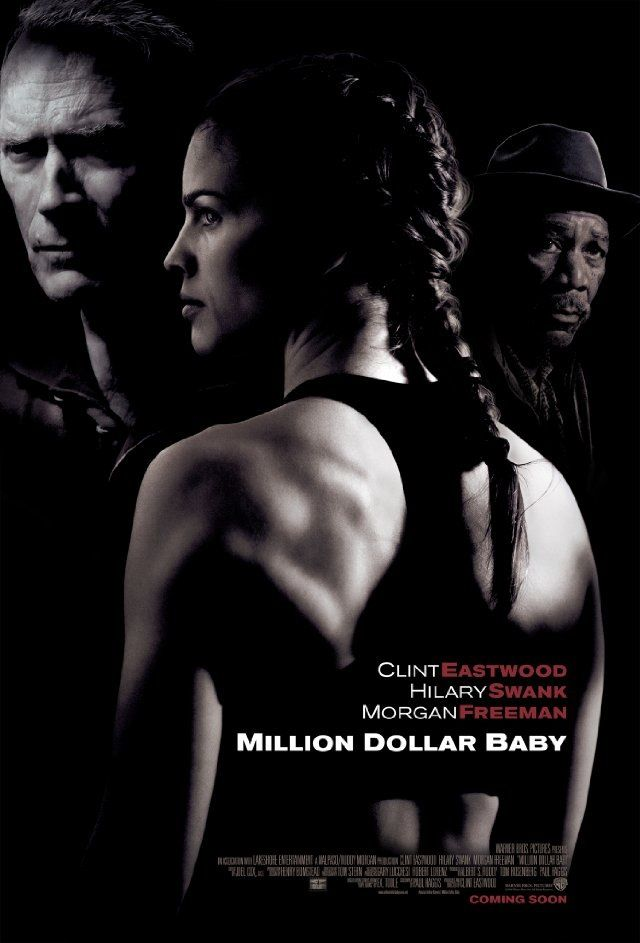 """Million dollar baby - Clint Eastwood 2004 - DVD06463 - Won 4 Oscars, 58 wins & 34 nominations -- """"Frankie is a former boxing manager who initially refuses to train Maggie due to her gender & age. With her talent & his coaching, the spirited young fighter rises through the ranks of women's boxing & the pair form a touching bond in the process."""""""