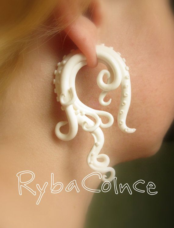 BEST EARRINGS EVER! Fake ear tentacle gauge - Faux gauge/Gauge earrings/Tentacle plug/tentacle earrings /spiral gauge/ fake piercing.    Bride