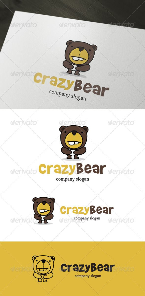 """Crazy Bear Logo   #GraphicRiver         Crazy Bear Logo design for creative studio company.  Featured:           AI CS4 Document      EPS 10 Document      PDF Document      CMYK 100 % Vector (Re-sizable)      300PPI     This Logo use free font from  .dafont / : - Font name """"Brady Bunch remastered"""" and you can download at """" .dafont /brady-bunch.font""""   This Logo use free font from Google web fonts : - Font name """"Kreon"""" and you can download at """" .google /webfonts/specimen/Kreon""""…"""
