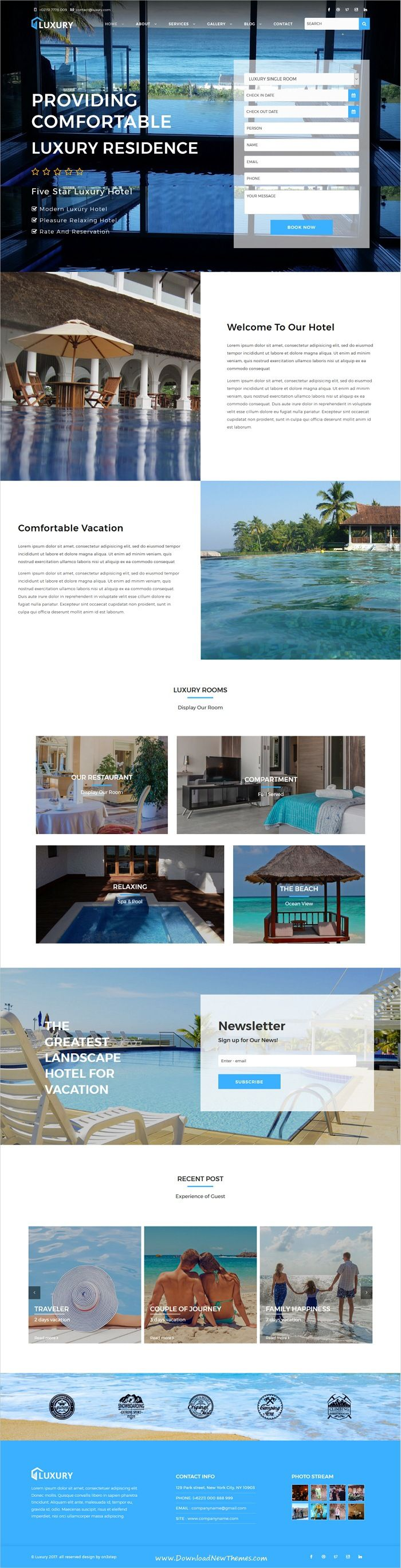 Luxury Is Clean And Modern Design 5in1 Responsive #HTML5 Template For  #hotels And #