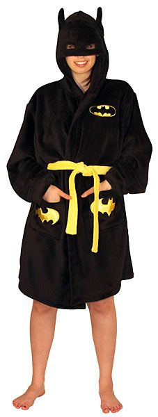 Batman Hooded Bathrobe... I would wear this around the house all the time... but always with the hood up because there's just no other way!