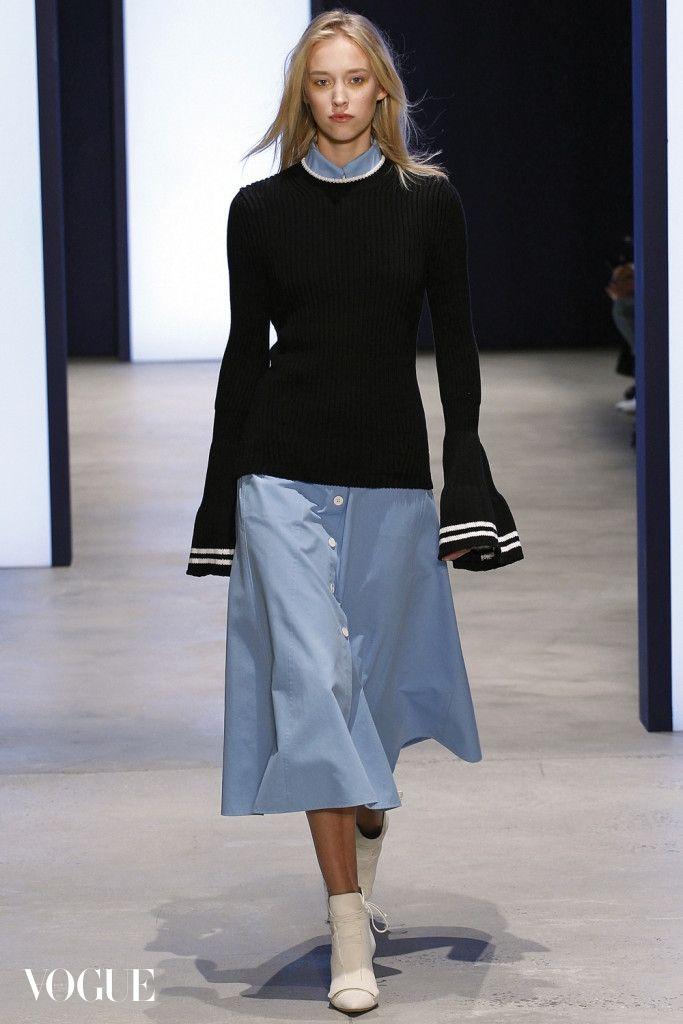 Derek Lam. Blue shirt midi dress and black jumper with kimono sleeves and white striped detail