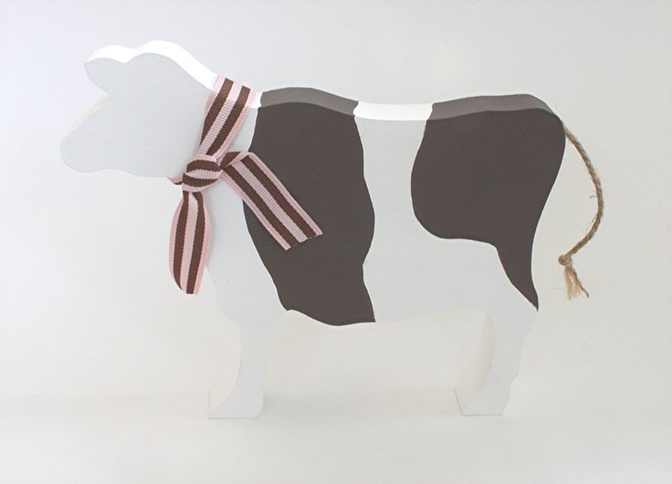 Brown and White Wooden Cow Ornament, Cow Silhouette, Wooden Cow, Cow Lovers Gift, Farmers Gift by SparrowMakes on Etsy