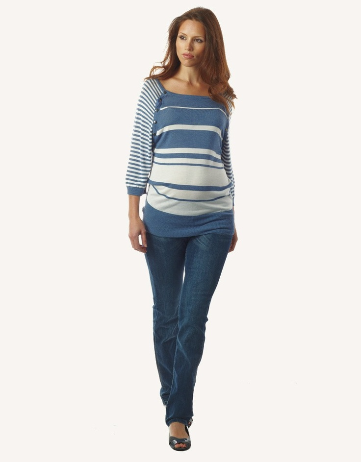 cute jeans and striped top for belly
