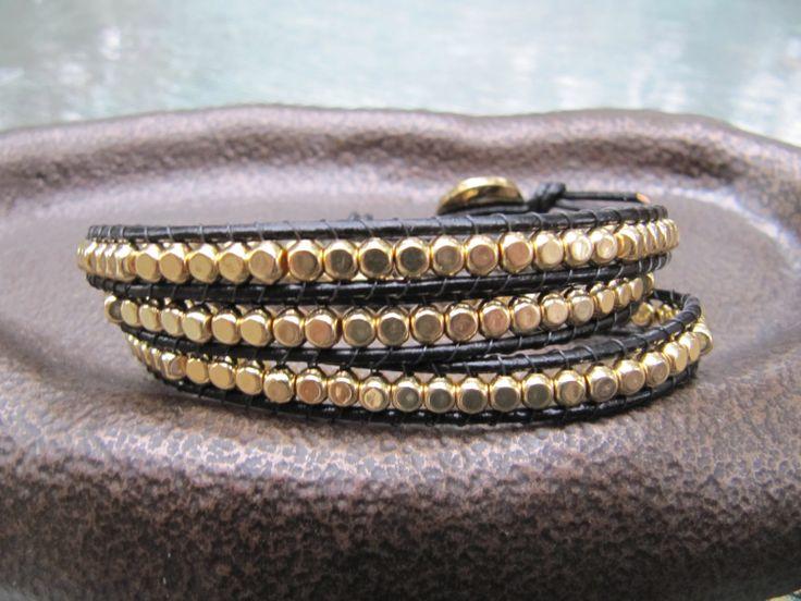 Triple Black Beaded Leather Wrap Bracelet with Gold by JillEliz123, $35.00