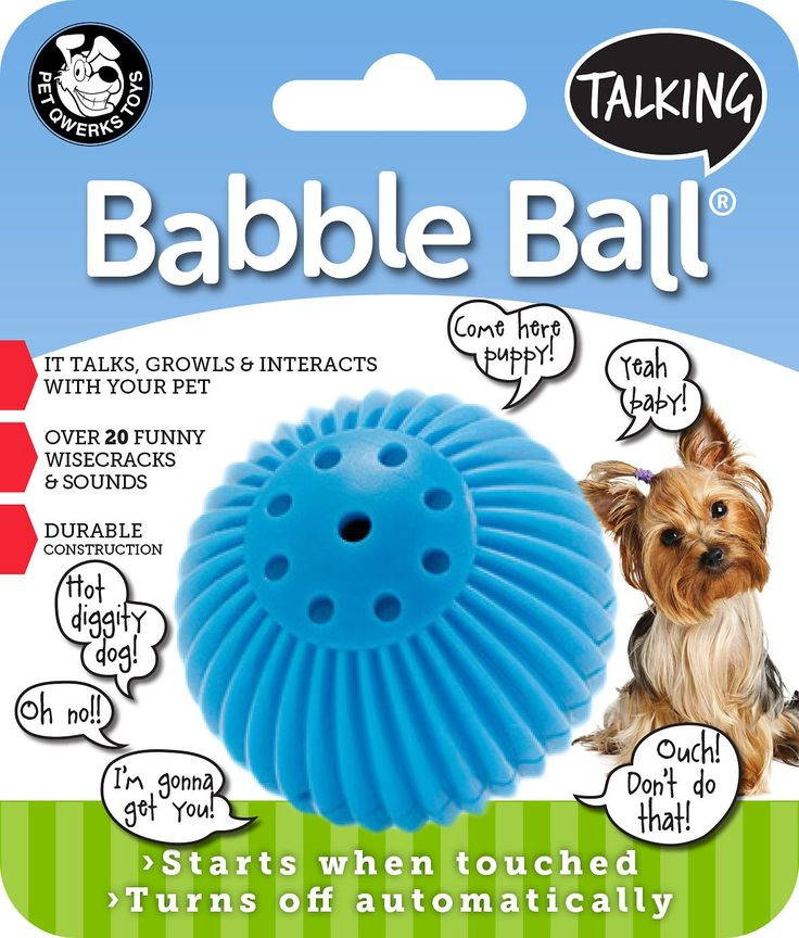 The Pet Qwerks Talking Babble Ball Dog Toy is an interactive toy that talks when activated. Interactive toys are a great way to keep your dog occupied and prevent unwanted behaviors associated with boredom like inappropriate chewing or barking. Pet Qwerks Talking Babble Ball Dog Toys are triggered by touch and turn off automatically when playtime is over. They feature more than 20 different sounds including
