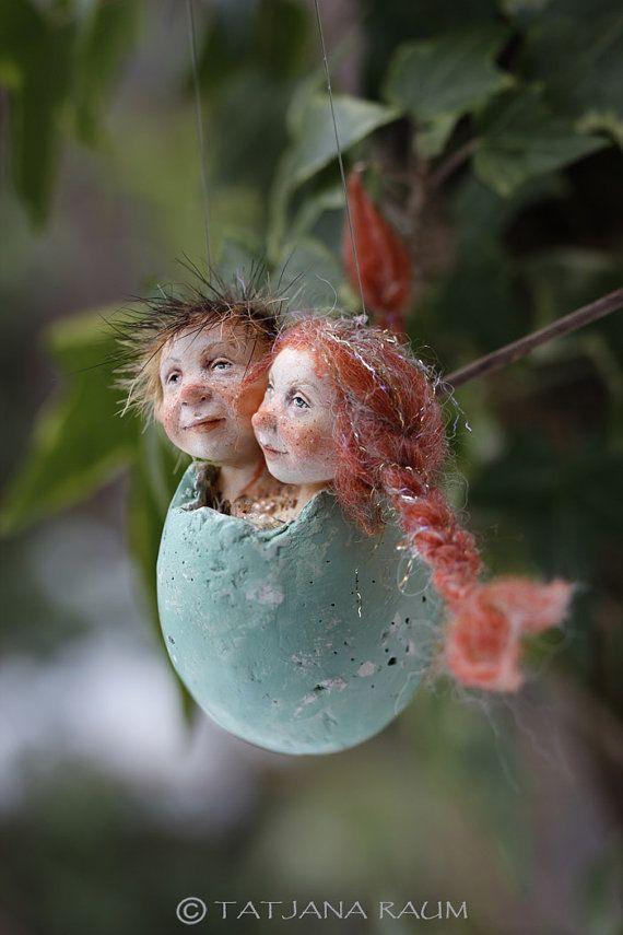 OOAK Fillipe&Eveline Easter Egg Hanging Decoration by chopoli
