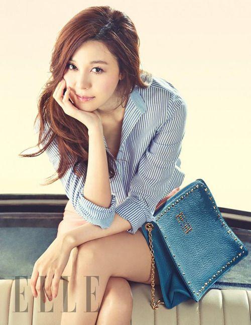 blue pinstripe shirt :: Kim Ha Neul