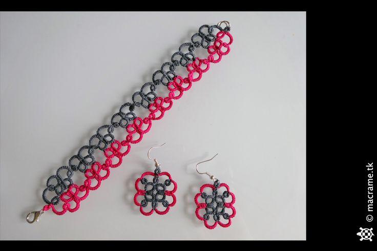 Semi fluo bracelet and earrings tatting set  Parure di bracciale e orecchini al chiacchierino semi fluo