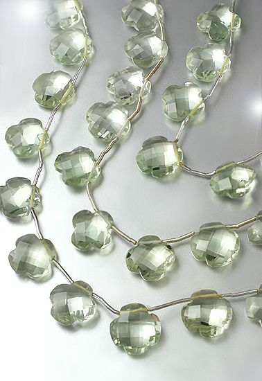 SmartyHands.com: Green Amethyst Flower Carving 12mm /2pc