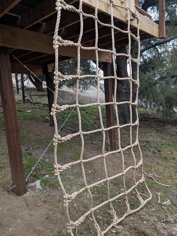 Climbing Net Handmade Kids 1 Pro Manila Rope 1 Etsy Manila Rope Handmade Kids Backyard For Kids