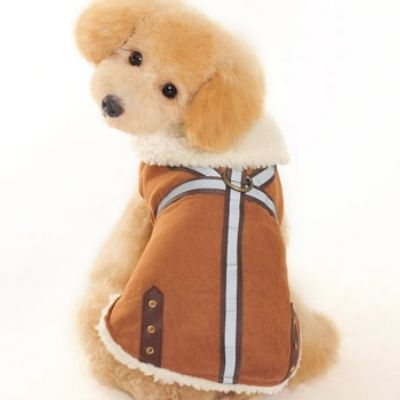 Military Shearling Dog Harness Coat :: Brown - $35.00