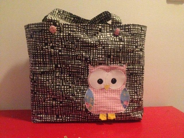 Owl shopping bag Paremman puutteeseen: Ommeltu kauppakassi