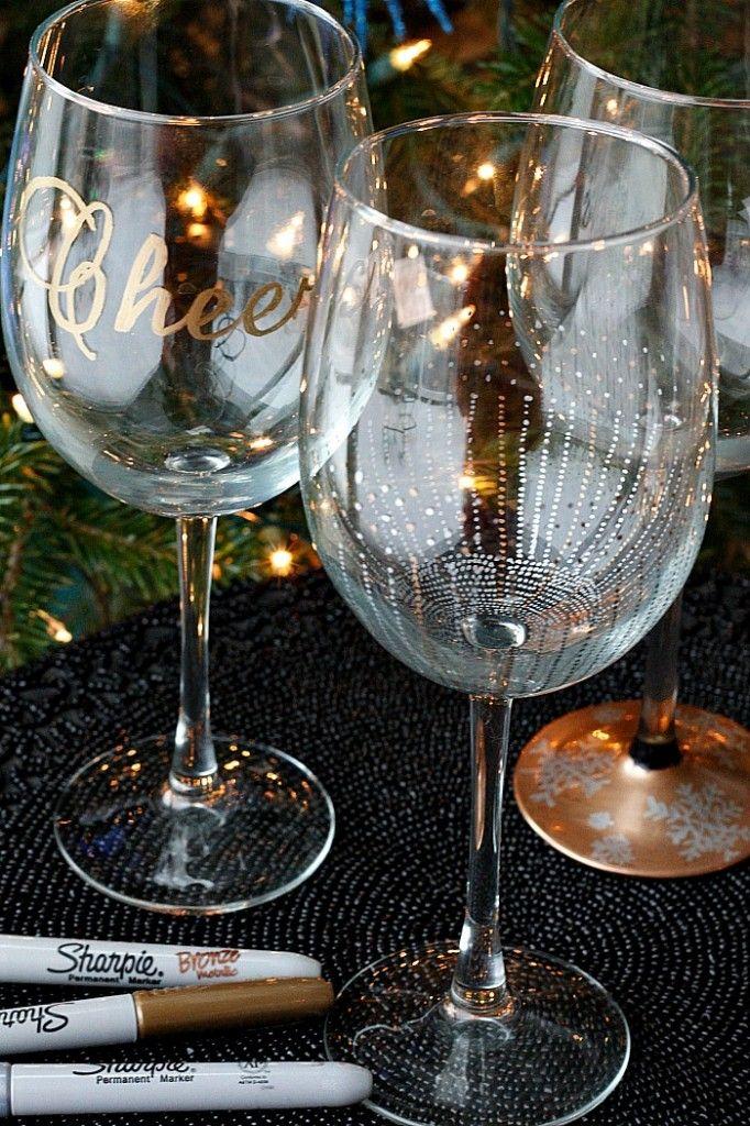 DIY Wine Glasses using Sharpies! | Fabtastic Eats