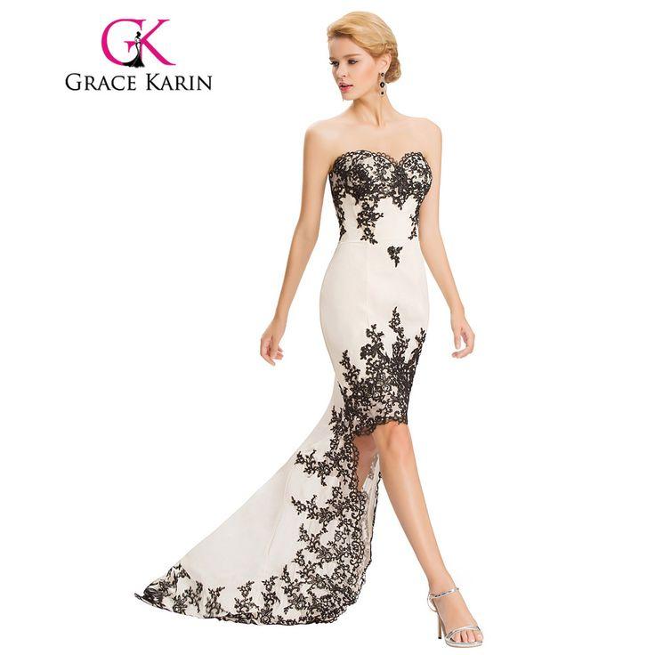 Grace Karin Robe De Soiree Courte Lace Evening Dress Beige Red Chiffon Long Short Front Long Back Evening Dresses Gowns 2017