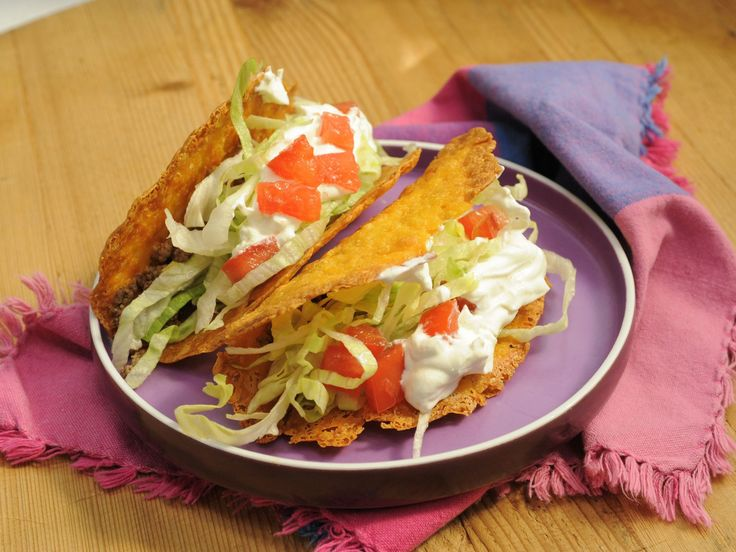 Cheddar Cheese Taco Shells : You've had tacos topped with shredded cheese, right? Well, Jeff Mauro uses that same cheddar to make the shells in his fan-favorite recipe. Bonus: You don't need special equipment to do it. Just bake the cheese in the shape of a circle, and when it's melted, hang it over a foil-wrapped ruler until it's hardened to create a crispy shell.