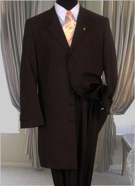 Sólido marrón larga Zoot chaqueta Traje en 175 dólares