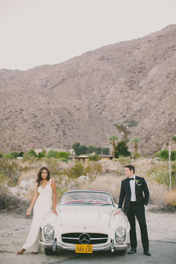 Vintage Mercedes wedding car via http://ruffledblog.com/elegant-palm-springs-wedding