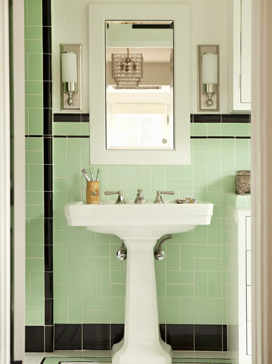 Bathroom 1950 Bathroom Design, Pictures, Remodel, Decor and Ideas - page 4. Use a white wide fram mirror. Simple lines.