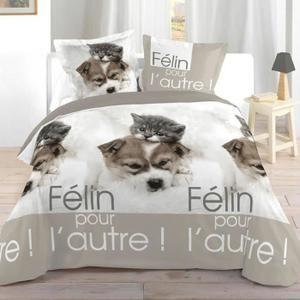 PARURE DE DRAP Parure de lit Chien et chat 140 x 200 cm - Housse de couette et taie d'oreiller.