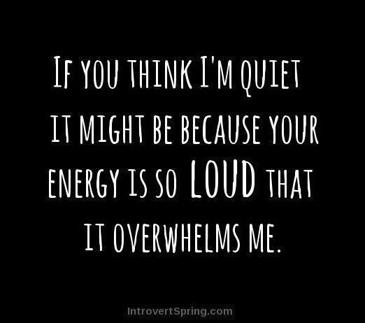 I'm not a quiet person at all.. so if I'm quiet around you is probably because I find you overwhelming.
