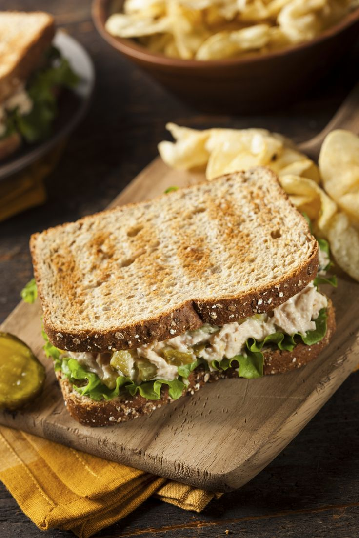 How many calories in a whole tuna sandwich on wheat
