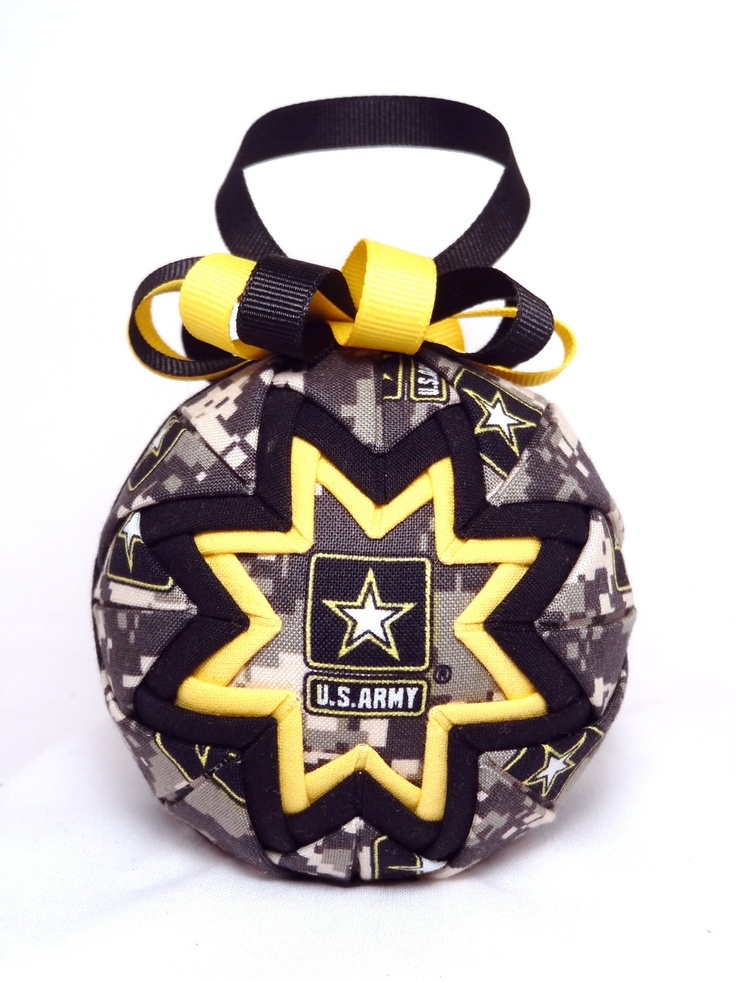 Quilted Ornament - Army - Patriotic - Handmade Fabric Ornament. $15.00, via Etsy.