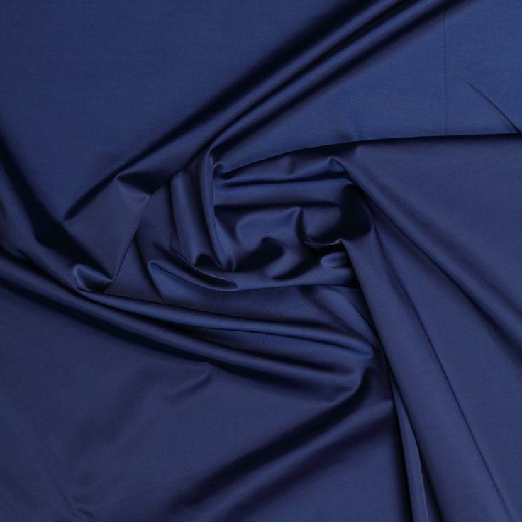 blauw satijn katoenblend met stretch italiaans import