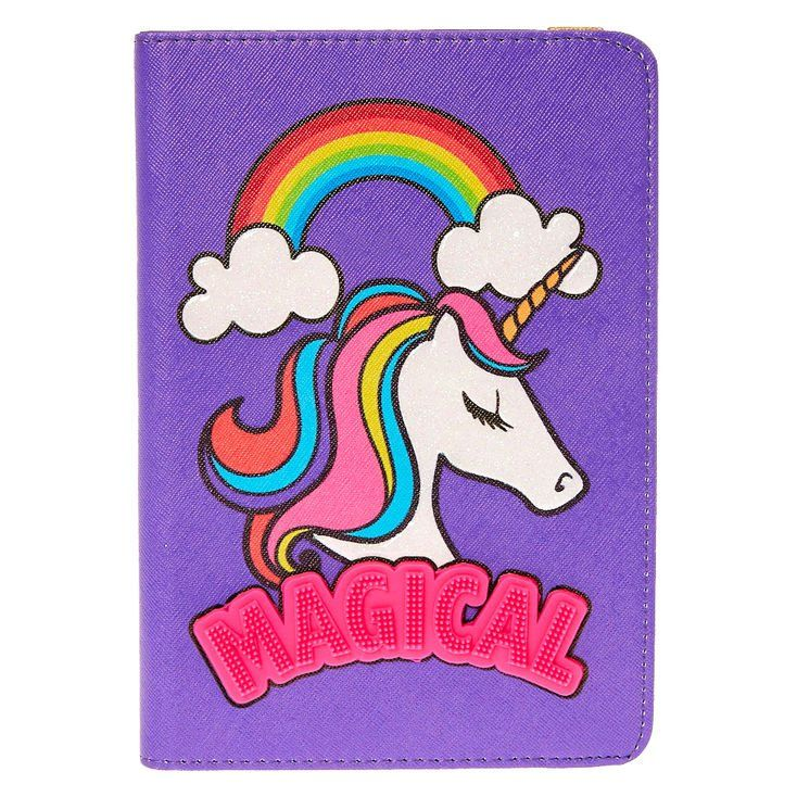 Transform your tablet into a magical entertainment device with the help of this whimsical tablet case. Purple faux leather folio case features a rainbow unicorn design with iridescent glitter accents. Tablet cover can be turned into a horizontal stand for viewing convenience.