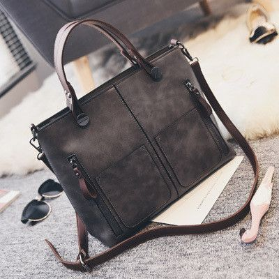 Retro fashion women solid handbag artificial leather women large tote bag ladies messenger bag black/gray/Brown/Purple