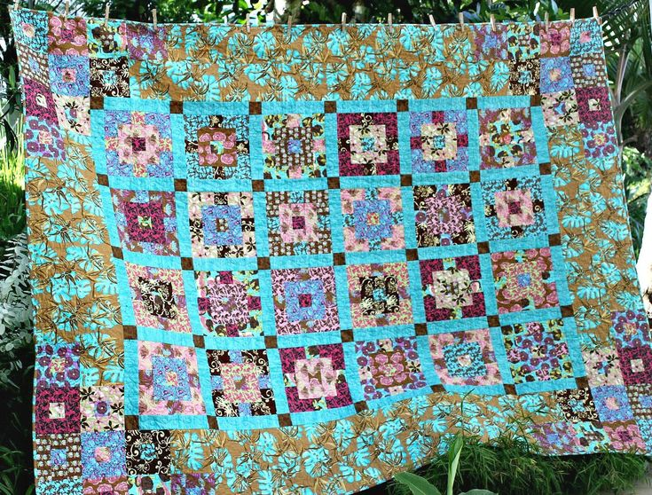 Double Bed Quilt, Twin Quilt, Dorm Quilt, Turquoise Brown Patchwork Quilt, Full Bed Quilt, Queen Bed Topper, Quiltsy Handmade by RedNeedleQuilts on Etsy
