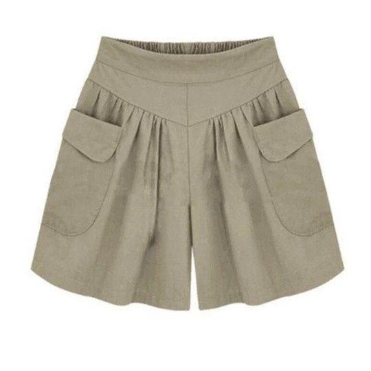VISNXGI Summer Street Fashion Shorts Women Elastic Waist Short Pants Women All-match Loose Solid Soft Cotton Casual Short L-5XL