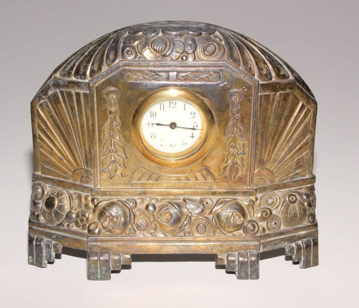 Art Deco Brass Mantle Clock. Working Order.