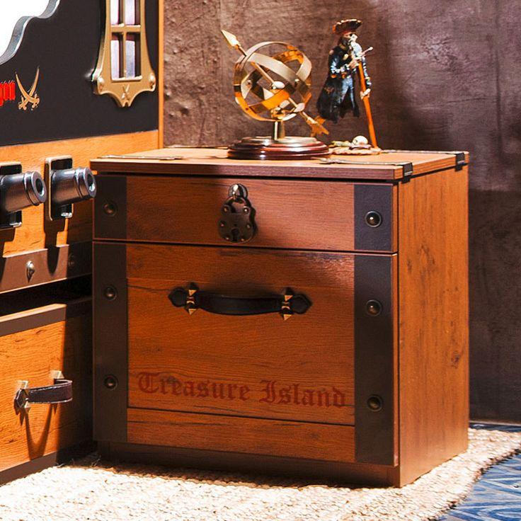 Небольшая детская тумба в форме пиратского сундука с выдвижными ящиками коричневого цвета купить в интернет-магазине https://lafred.ru/catalog/catalog/detail/38278245031/