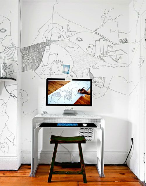 doodles on wall: Interior Design, Idea, Office Designs, Work Spaces, Workspaces, Desk, Drawing, Wall