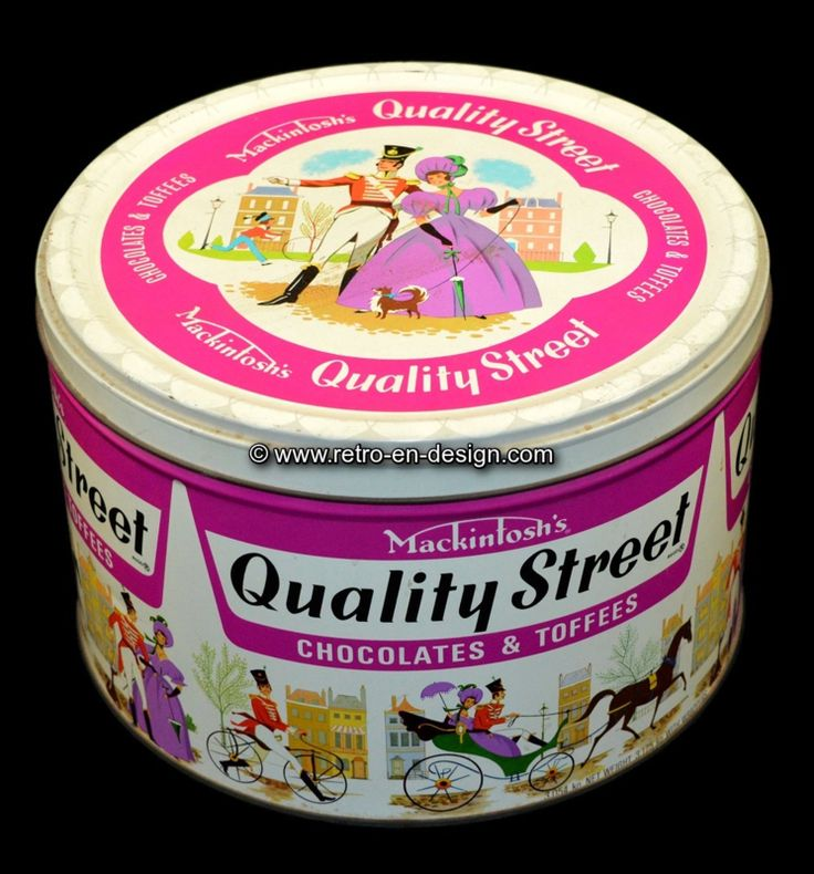 "Vintage candy tin, Mackintosh's Quality Street Round tin with images of a soldier and a girl dressed in pink for ""Quality Street"" (chocolates & toffees) by Mackintosh. Dated 1986.   Height: 17 cm.  Diameter: 23 cm.  http://www.retro-en-design.co.uk/a-46482413/tins/vintage-candy-tin-mackintosh-s-quality-street/"