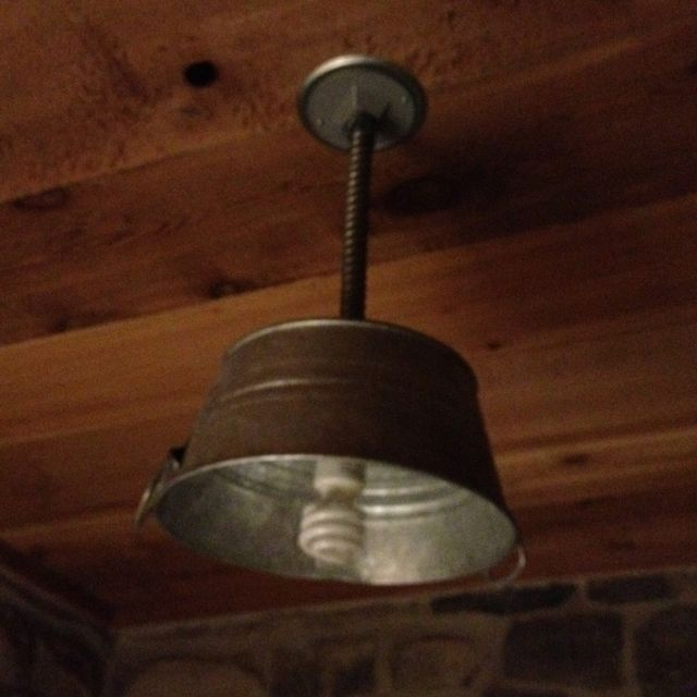 Great Metal Bucket As A Light Fixture In A Bathroom. Rustic And Cute!