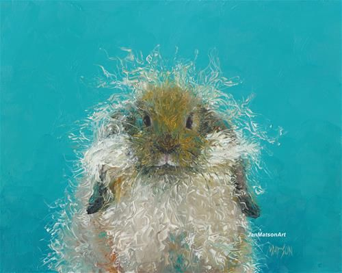 """Daily Paintworks - """"Hairy Rabbit, 'Oswald'"""" by Jan Matson"""