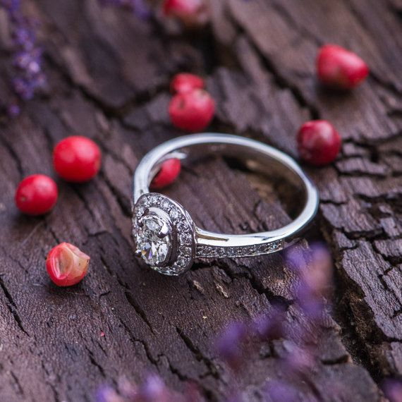 0.47 Ct Natural White Diamonds Engagement Ring by ZEHAVAJEWELRY