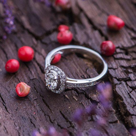 0.47 Ct Natural White Diamonds Engagement Ring by ZEHAVAJEWELRY