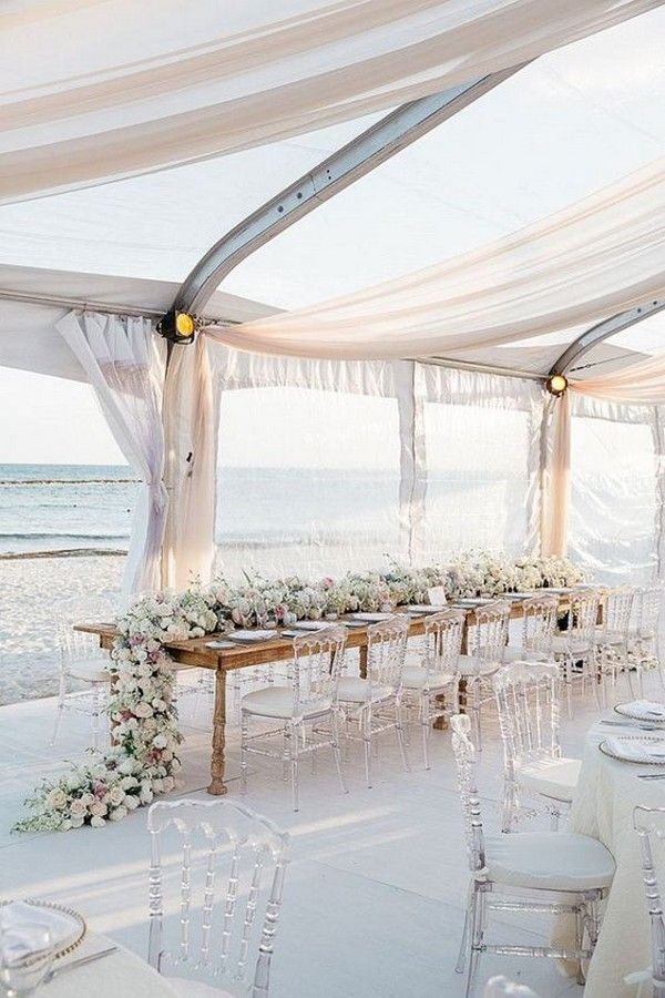 beach rent wedding reception decor idea / http://www.deerpearlflowers.com/wedding-tent-decoration-ideas/