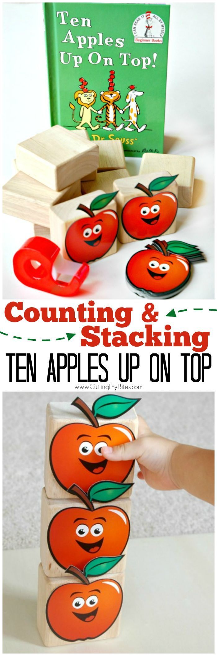 Ten Apples Up On Top Counting and Stacking.  Simple Dr. Seuss book extension and math activity for toddlers and preschoolers!