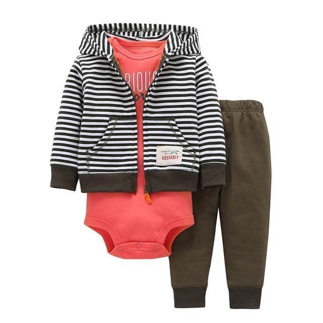 8c67275dfa03 BABY BOY CLOTHES fleece jacket+bodysuit+pant newborn set girl autumn ...