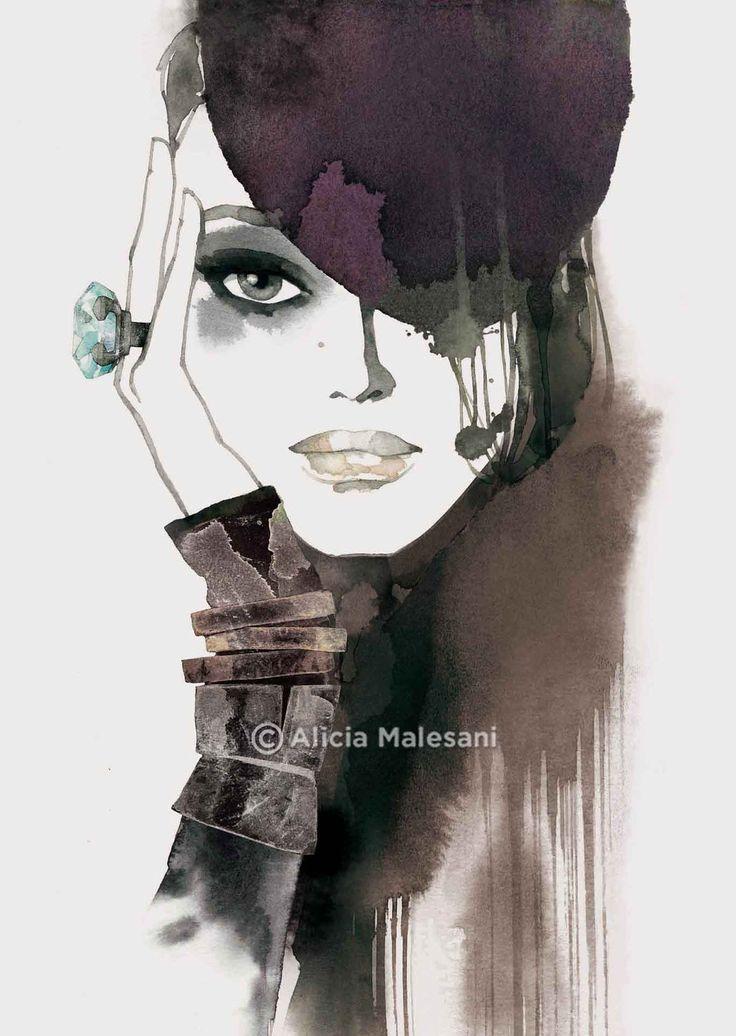 Alicia Malesani  #fashion #illustration Portrait