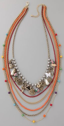 Long Multi-Strand Chain Necklace with Charms